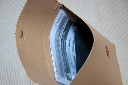 iPadとジーンズのラベル素材で作った 丸留め付き封筒・大